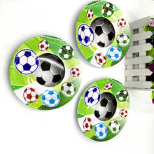 10pcs/lot new design football plates kids birthday wedding party supplies football paper dishes happy birthday party supplies(China)