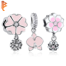 BELAWANG Fit Pandora Bracelets Pink Enamel Orchid Charms With Clear CZ Original 925 Sterling Silver Beads DIY Jewelry Wholesale