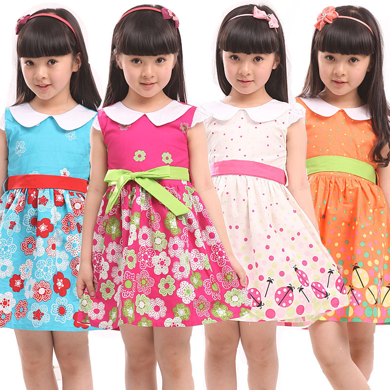 2017 summer kids clothes floral bow 100% cotton child princess tank party girl dress sundress flowers cotton girl baby dress<br><br>Aliexpress