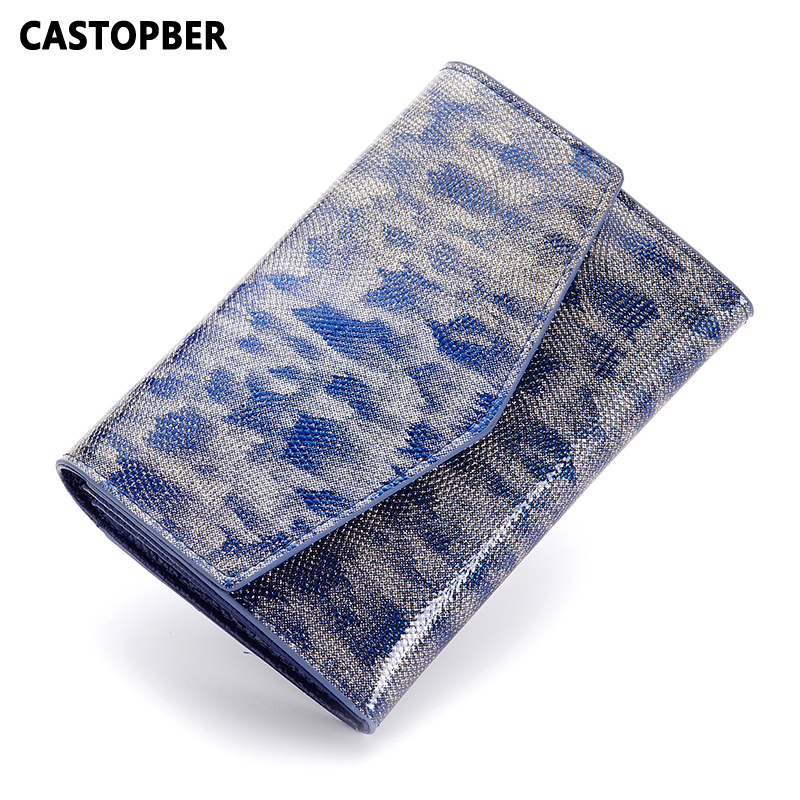 Women Patent Leather Wallet Short Candy Color Wallets Cowhide Split Leather Fashion Ladies Coin Purse Famous Brand High Quality<br>