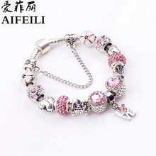 AIFEILI Fashion Antique 925 Pink Coler Charm Fit Original Bracelet & Bangle with Love and Flower Crystal Ball for Women Wedding(China)