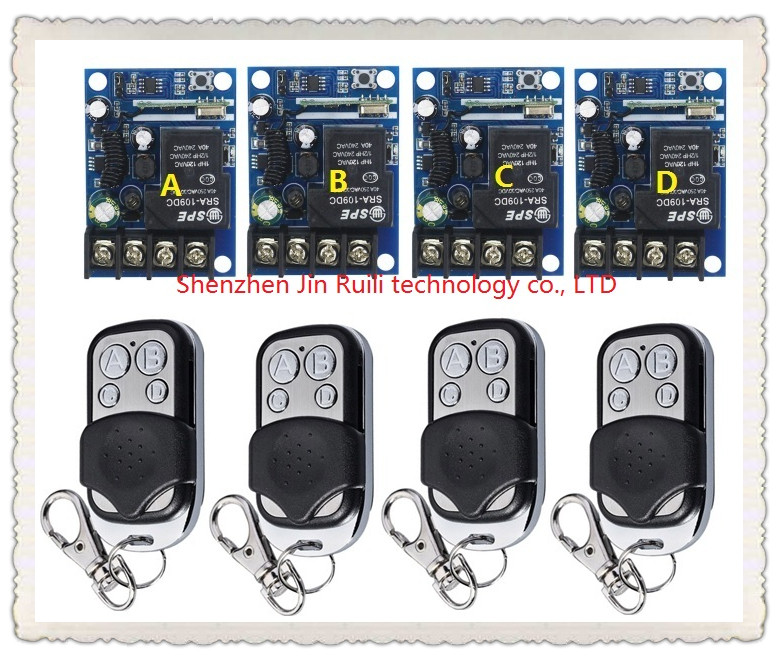 New DC12--48V 12V 24V 36V 48V 1CH 10A RF wireless remote control switch 4 pcs receiver +4 pcs transmitter<br>