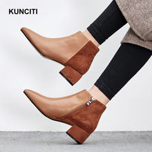 2018 KUNCITI Genuine Leather Women Combat Boots Pointed Toe Ladies Chunky Heel  Ankle Booties Shoes Med Heel Chelsea Shoes D565 2ae11c7dccf9