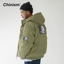 CHINISM Stylish Logo Printed Hooded Jacket Thick Mens Military Green Retro Men's Parkas Winter Streetwear Men Jackets(China)