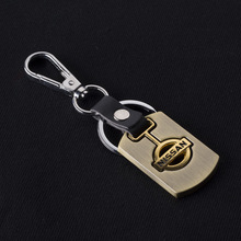 Gold Car Logo Keychain Keyring Metal Alloy Fine Wire Drawing For Nissan Car Styling Key Holder