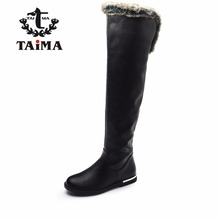 TAIMA Brand Women Fashion Boots Winter Knee-High Fur Snow Boots Female Warm PU Leather Boots Winter Casual Shoes For Woman
