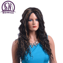 MSIWIGS Mix Color Long Curly Wigs Two Tones African High Temperature Fiber Synthetic Hair Ombre Wig for Women
