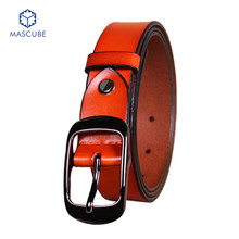 Hot Fashion Belts Men Leather Brand Trouser Belt Good Quality Pin Buckle Orange Business Mens Luxury Belts