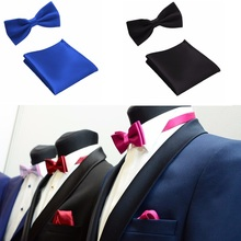 Tie Set Men's Apparel Accessories Bow Ties Pocket towel Mariage Solid color Polyester Butterfly Handkerchief