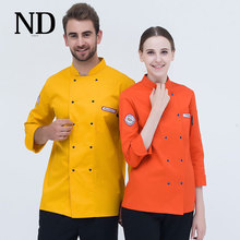 7 Colors Hotel Chef Uniform Double Breasted Coat Long Sleeved Jacket Chef Restaurant Waiter Clothes(China)