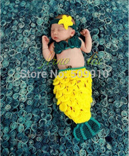 Free shipping Beauty Mermaid Baby accessories Newborn Photography Props Baby Knit Crochet Handmade Cocoon Mermaid Costume Set