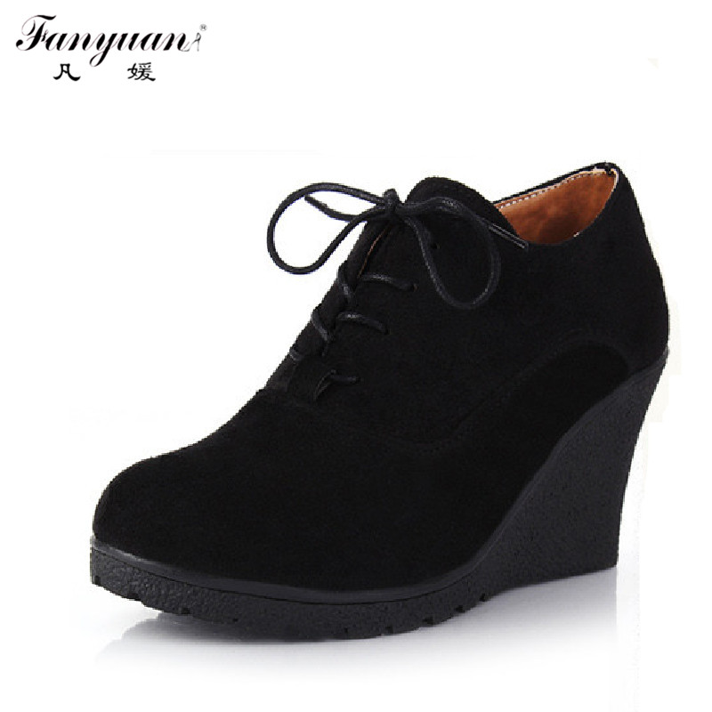 2016 New Wedges Women Boots Fashion Flock High-heeled Platform Ankle Boots Lace Up High Heels Spring Autumn Shoes For Women<br><br>Aliexpress