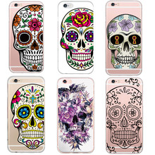Cool Floral Sugar Skull Head Phone Case Cover For iphone 5 5s SE 6 76splus Skull Life Colored Painting Soft Silicon Plastic Case