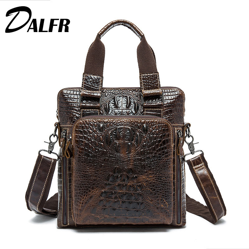 DALFR Leather Bags for Men  Fashion Solid Messenger Bags Zipper Style 16 Inch Cowhide Briefcase<br><br>Aliexpress