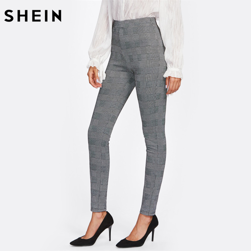 SHEIN High Waisted Pants Autumn Elegant Trousers Women Grey Plaid Stretchy Pants Ladies Elastic Waist Skinny Pants vestidos de inverno zara 2018