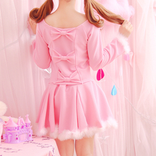 Autumn Japanese Super Cute Kawaii Dress For Women Pink Lolita Girl Basic Long Sleeve Lovely Fur Hem Dresses Set Back with Bow(China)