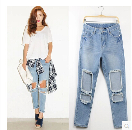 2017 New Spring Ripped Women Jeans Slim Casual Fashion Jeans Femme Pants Hole Cut Hollow Out Boyfriend Loose Jardineira FemininaОдежда и ак�е��уары<br><br><br>Aliexpress