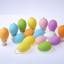 30pcs Easter Egg 60x40mm For Easter Decoration Home Kids Children DIY Painting Egg With Rope Gifts Plastic Hanging Easter Eggs