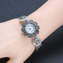 Simple Women Watch Bracelet Antique Silver See Time Creative Birthday Presents Teacher Student Daywear Inlay Rhinestone 6096
