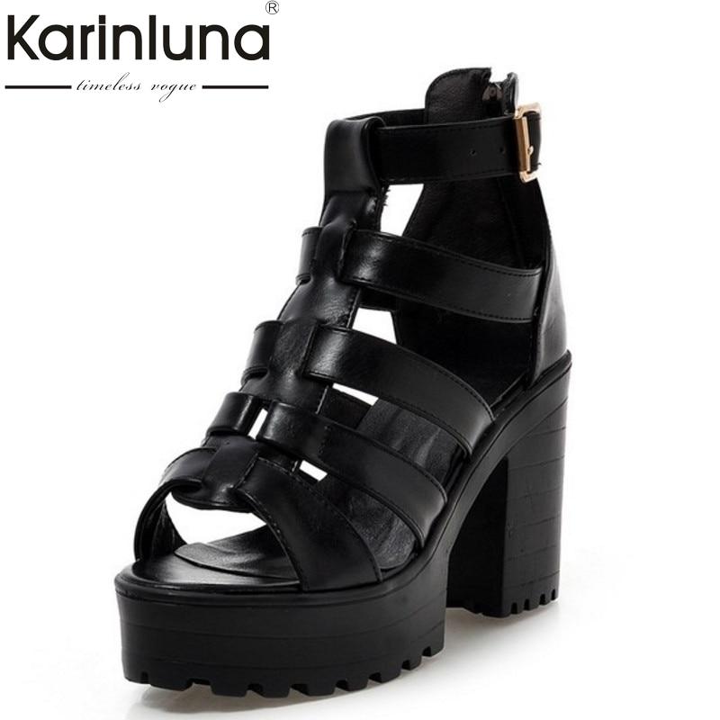 Large Size 34-43 Fashion Rome Style Shoes Women Solid Peep Toe Gladiator Shoes Buckle Platform Women Sandals Black white<br>