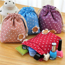 1pc Polka Dot Small Storage Sack Floret Rope pull-pouch Cloth Hanging Non Woven Storage Basket Organization
