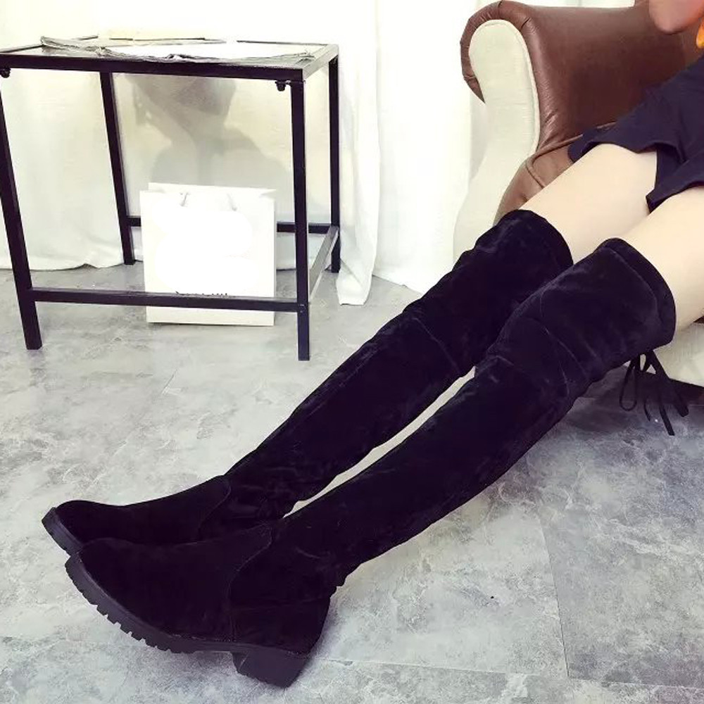 low heels winter shoes woman botas sexy high boot Black False Suede over the knee boots for women<br><br>Aliexpress