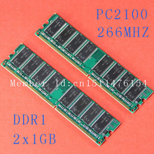 New Desktop 2X1GB DDR DDR1 PC2100 ddr266 266MHz PC-2100 184PIN Low Density DIMM Memory CL3 RAM Module Free shipping