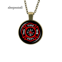 Firefighter Symbol Glass Pendant Necklace DIY Handmade Fire Dept Jewelry Vintage Charms Trendy Men Gift jewelry accessories