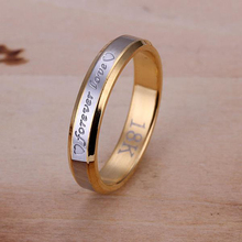 Forever love Rings For Couples Trendy Korean Gold Color double Round Lovers Jewelry Romantic Engagement Anniversary gift