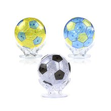 3 Pcs DIY 3D Jigsaw Crystal Puzzle with Flash LED Light - Football ( Clear& Blue & Yellow)