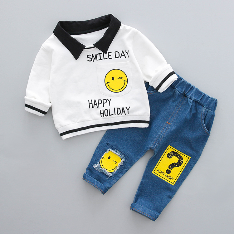 Boys Clothing Set Spring 0-3y New 2018 Fashion Style Cotton turn-down collar full Sleeve with smile Print Baby Boy Clothes 18001 7