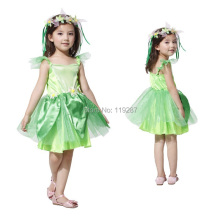 Free Shipping Novelties Green Sprite dress Leg Avenue Neverland Tinkerbell Garden Fairy kids Costume(China)