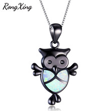 RongXing Lovely Owl White/Blue Fire Opal Pendants Necklaces Women Fashion 925 Sterling Silver/Black Gold Filled Jewelry NL0137(China)