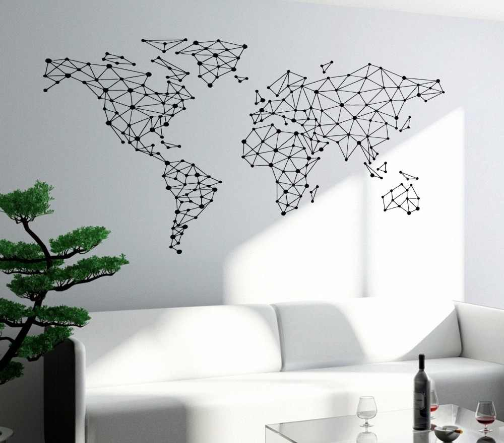Free Shipping Art Wall Sticker Special World Map Geometric Design World Map Wall Decals Vinyl Home Decor Wall Mural Poster Y 793