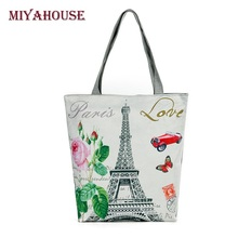 New Arrival Female Canvas Tote European Style Fashion Printing Women Handbag Canvas Beach Bags For Girls Bolsa Feminina