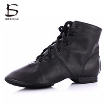 High Quality Adult Jazz Dance Shoes Lace-up Ballroom Dance shoes Women's/Men's Profession Genuine Leather Jazz Boots(China)