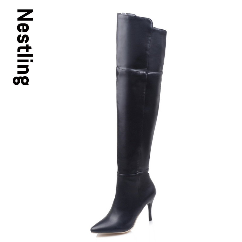 Size 34-43 New 2017 Autumn Fashion Women Boots Over The Knee High Boots Women Shoes Sexy Zip High Heels Leather Shoes Woman D35<br><br>Aliexpress