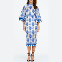 2016 New style women tassel dress blue color floral pattern elegant lady dress sexy loose clothing half sleeve round neck dress