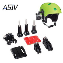 ASIV Helmet Side Mount Kits 3 Way Adjustable Pivot Arms + Flat Base + Curved Mount + 3M Adhesive for Gopro Hero 5/4/3+/3/2 SJ400