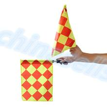 20pcs stainless steel Soccer Referee Flag with Bag Football Judge Sideline Sports Match soccer Linesman Flags Referee(China)