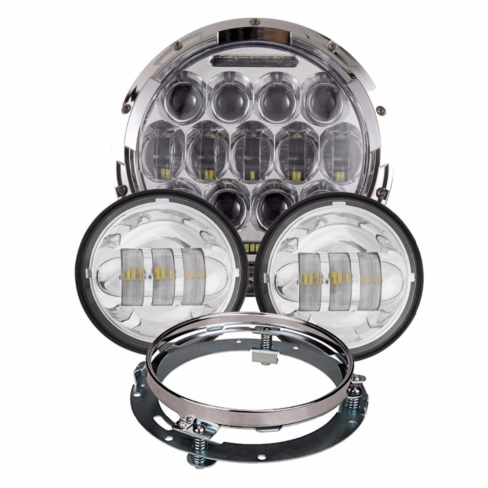 4pcs/set Silver 7inch 75W LED Headlight plus 4.5inch LED Fog Lamp  plus 7inch Headlight Mounting Bracket Ring for harley <br>