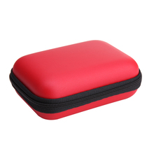 Red EVA Zipper Headphones Box Earphone Earbuds Hard Case Trinketry Storage Carrying Pouch Bag SD Card Hold Charms Box