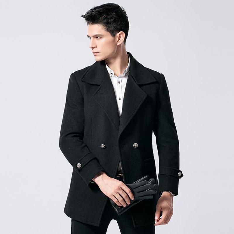 PUNKOOL Wool Coat Men Western Style Two Button Thicken Slim Woolen Coat Men 2017 Business Fashion Blazer Wool & Blends Jacket