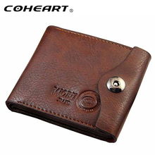 COHEART Men Hasp Wallet Leather Purse Trifold Wallets For Man High Quality Big Capacity Credit Crad Holders Money Bag Cheap(China)