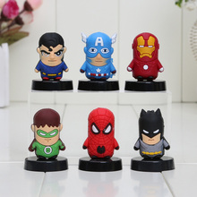 6pcs/set Spider man Iron Man Captain America Green Lantern PVC Figure Toys