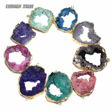 Wholesale 1 PCS Natural Unique Crystal Colorful Druse Geode Stone Pendant Irregular Geode DIY Fit Necklace For Jewelry Making(China)