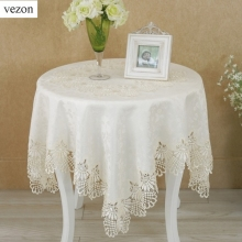 vezon Hot Sale Square High Quality Elegant Polyester Jacquard Lace Tablecloths For Wedding Party Home Table Linen Cloth Covers