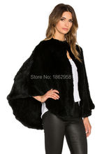 Hot Sale SJ429 Free Size Real Fur Knitting Shawls For Female Handmade Knitted Rabbit Fur Poncho Women Sheared Fur Shawl Winter