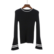 High Quality Korea Style Speaker Sleeves Sweater Women Winter Pullover Striped Knitted Sweater Tops Autumn Female Slim Sweaters