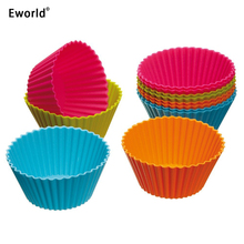 Eworld 24pcs Cupcake Liners Mold 8Colors Muffin Round Silicone Mold Cup Cake Tool Bakeware Baking Pastry Tools Kitchen Gadgets(China)